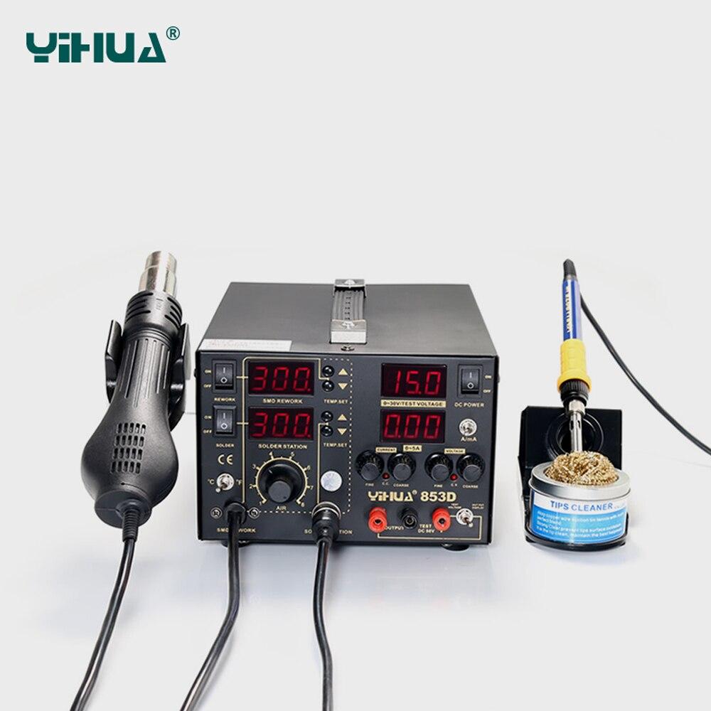 YIHUA 853D 5A 3 IN 1 SMD alalisvoolu toiteallikas kuumaõhupüstol - Keevitusseadmed - Foto 3