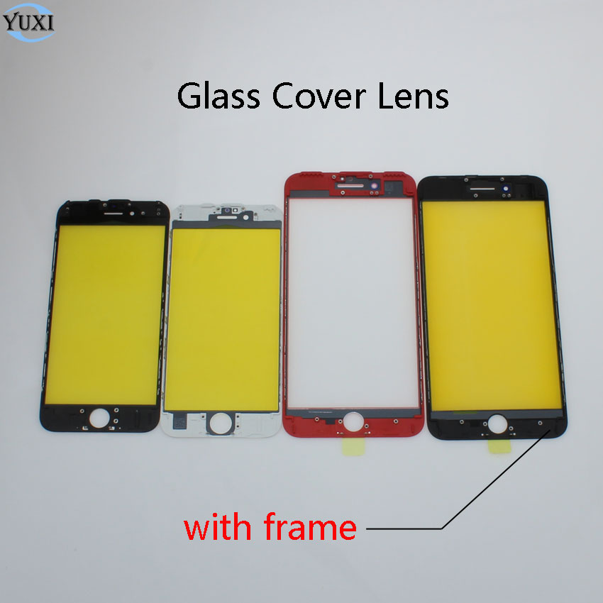 YuXi Black White Red Replacement LCD Front Touch Screen Glass Outer Lens with frame For iPhone 6 6G 6S Plus image