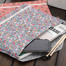Elegant Floral A4 Big Capacity Document Bag Business Briefcase File Folders Chemical Felt Filing Products Student Gifts
