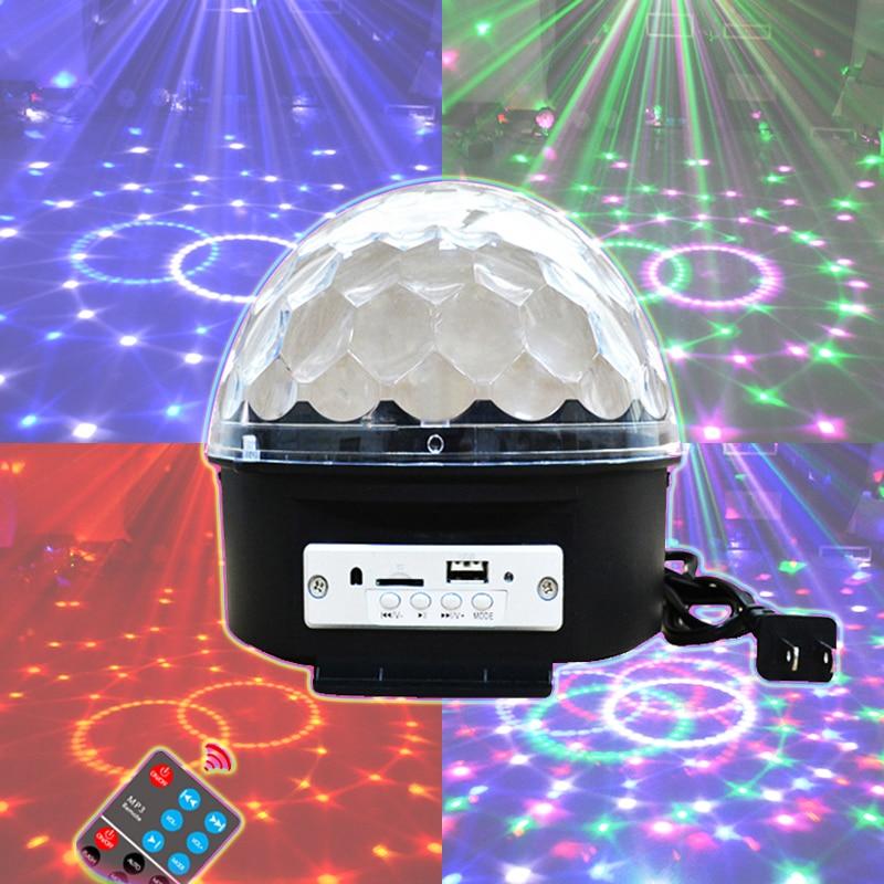 ФОТО Led Bluetooth Speaker Stage Light Sound Control Stage Lamp 6 Colors Flash Lamp Wedding Magic Crystal Ball U disk broadcast