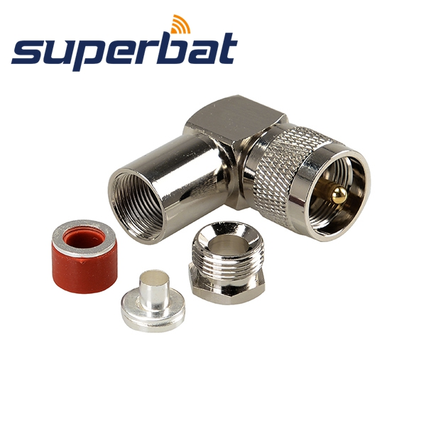 Superbat UHF PL-259  Male Clamp Plug Right Angle RF Connector For 50-5 Cable
