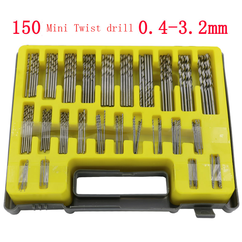 150pcs/set 0.4mm-3.2mm Mini Twist Drill Bit Kit HSS Ferramentas Saw Bits Set With Storage Case Metric System Drilling Tool new 10pcs jobbers mini micro hss twist drill bits 0 5 3mm for wood pcb presses drilling dremel rotary tools