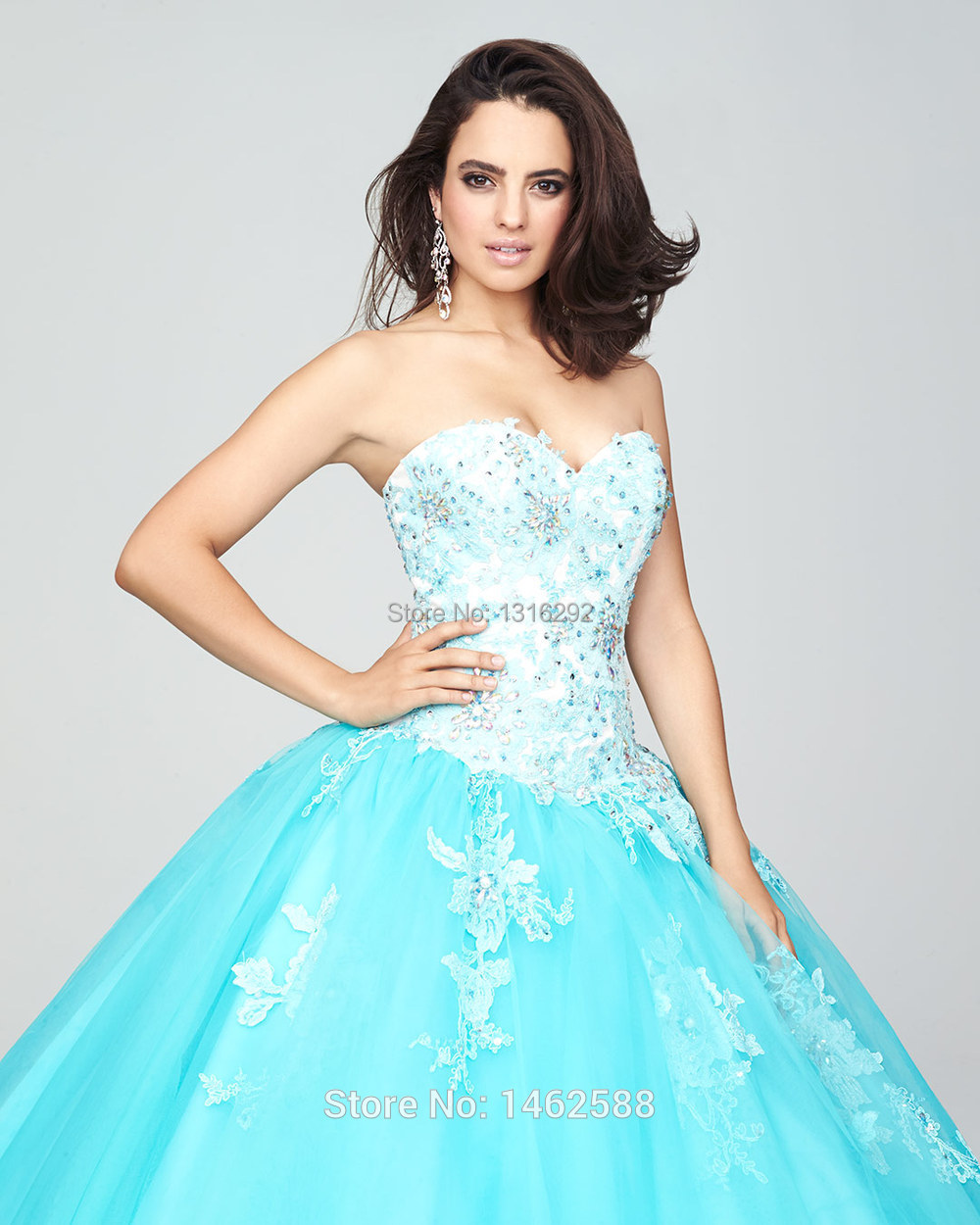 White Lace Appliques Sweetheart Bodice Corset Turquoise Quinceanera ...