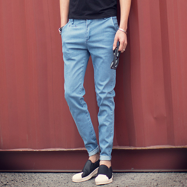Aliexpress.com : Buy Korean Designs Light Blue Solid Jeans Men ...