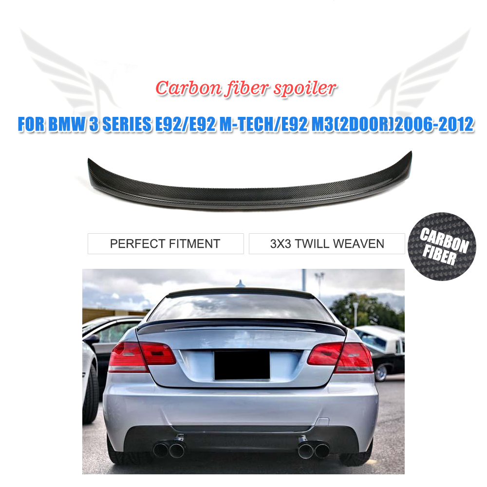 Carbon Fiber Rear Trunk Spoiler For BMW 3 Series E92 Coupe M3 M Sport 2Door 2006-2012 Car Rear Boot Wing Lip Car Styling