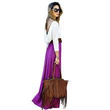 Millyn Ideas Maxi Skirt 2017 Summer autumn winter new Purple orang Color large swing long pleated women skirt S-XL