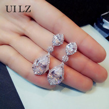 UILZ Elegant White Gold Large Drop Earrings Water Drop Shape Fashion Wedding Jewelry With Crystal CZ For Women UE2034