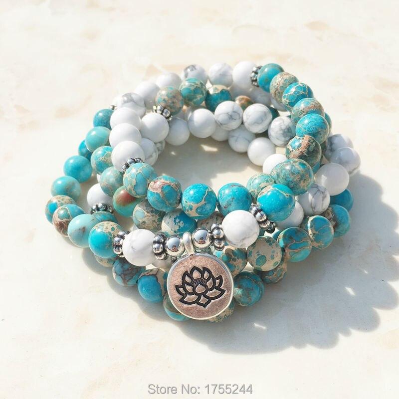 SN1101 Howlith Stein Mala Armband 108 Perlen Mala Wrap Armband oder Halskette Reiki Rosenkranz Gebet Lotus Armband Freies Verschiffen-in Strang-Armbänder aus Schmuck und Accessoires bei  Gruppe 1