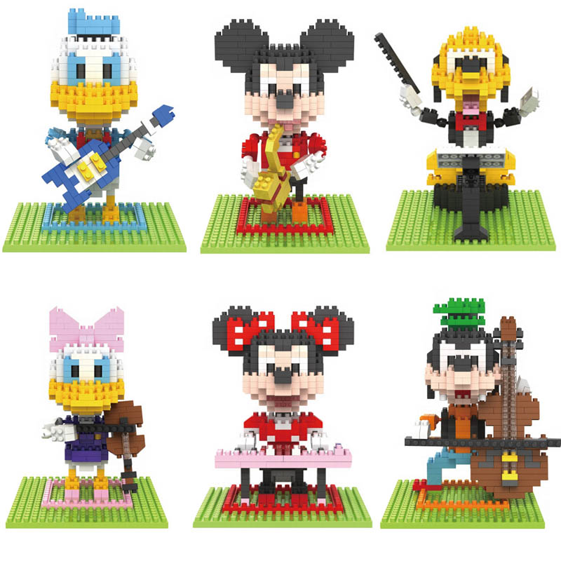 ФОТО donald duck action figures 3d scale musical instruments model building blocks mickey minnie mouse cartoon characters toys gift