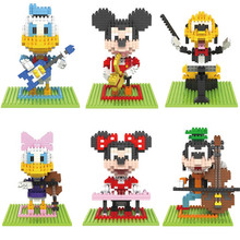 Donald Duck Action Figures 3D Scale Musical Instruments Model Building Blocks Mickey Minnie Mouse Cartoon Characters Toys Gift