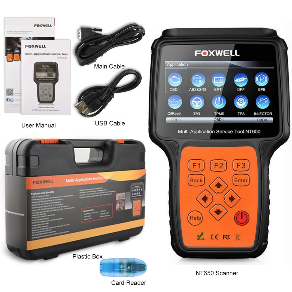 Image 5 - FOXWELL NT650 OBD2 Automotive Scanner ABS Airbag SAS DPF EPB Oil Reset Code Reader Professional Car Diagnostic Tool OBD2 Scanner on