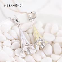 9afad269d8b5 Nuevo 100% 925 de plata del grano de cristal Torre Eiffel esmalte cuelga  granos del encanto Fit Pandora pulsera y brazalete DIY .
