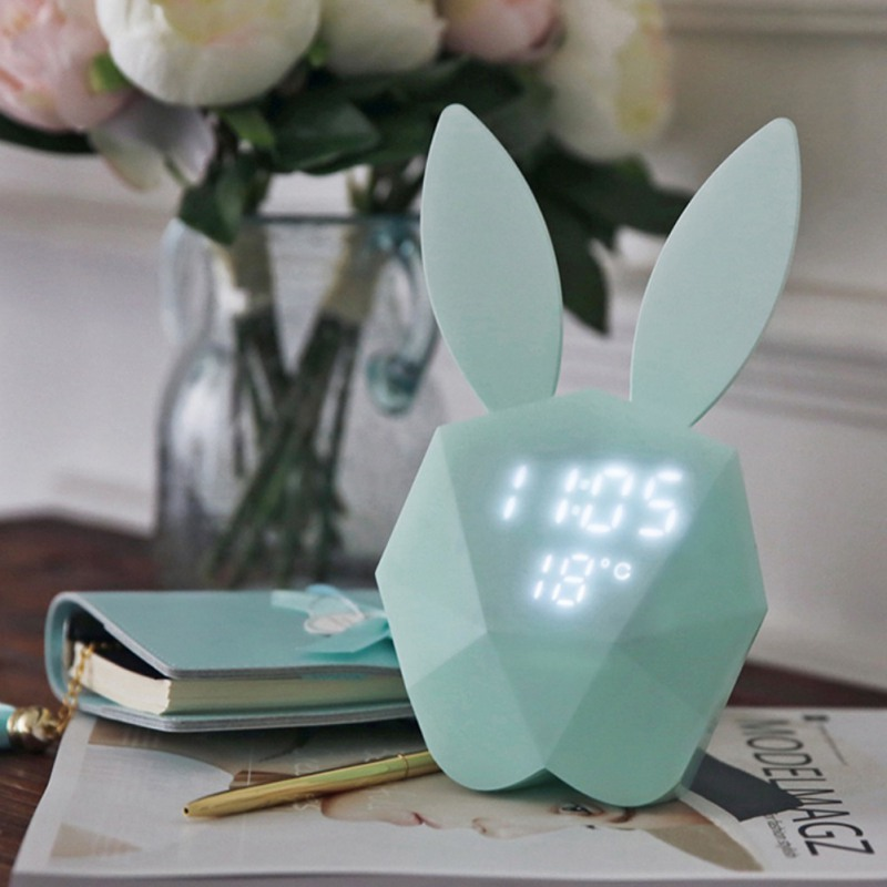 Cute Rabbit Bunny Digital Alarm Clock LED Sound Night Light Thermometer Rechargeable Table Wall Clocks New Pink Blue creative smart rabbit alarm clock lamp light rabbit shaped led music sound controlled night light for indoor decor drop shipping