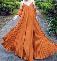 Pleated Long Dress Lace Trim Cold Shoulder Chiffon Maxi Dress for Women