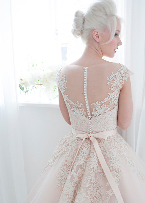 Vintage Wedding Dresses 1950s\' Blush Tea Length Tulle and Lace ...