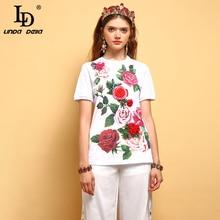 LD LINDA DELLA 2019 Fashion Summer Tops Women's Short Sleeve Beading Appliques Floral Printed Elegant Casual Vacation T-shirt цена