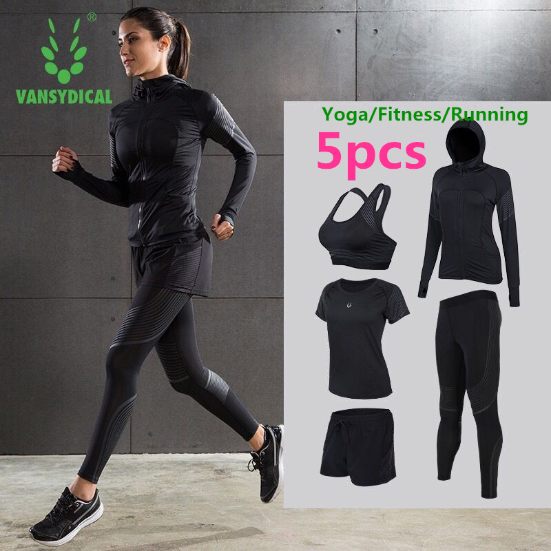 Brand 2018 Yoga Set Women's Gym Clothes Elastic Fitness Running Tights Sportswear Quick Dry Workout Sports Jogging Suits 2-5pcs crazyfit mesh hollow out sport tank top women 2018 shirt quick dry fitness yoga workout running gym yoga top clothing sportswear