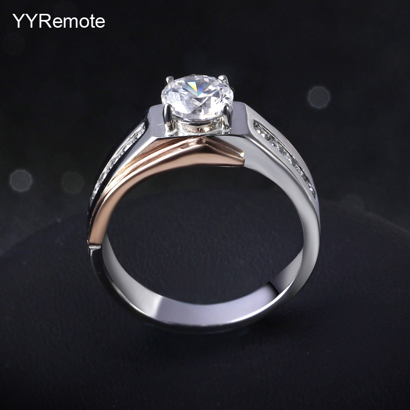 New arrival male ring stainless steel Ring 2 tone plated with CZ stone fashion jewelry full rings size #8, #9 ,#10, #11, #12