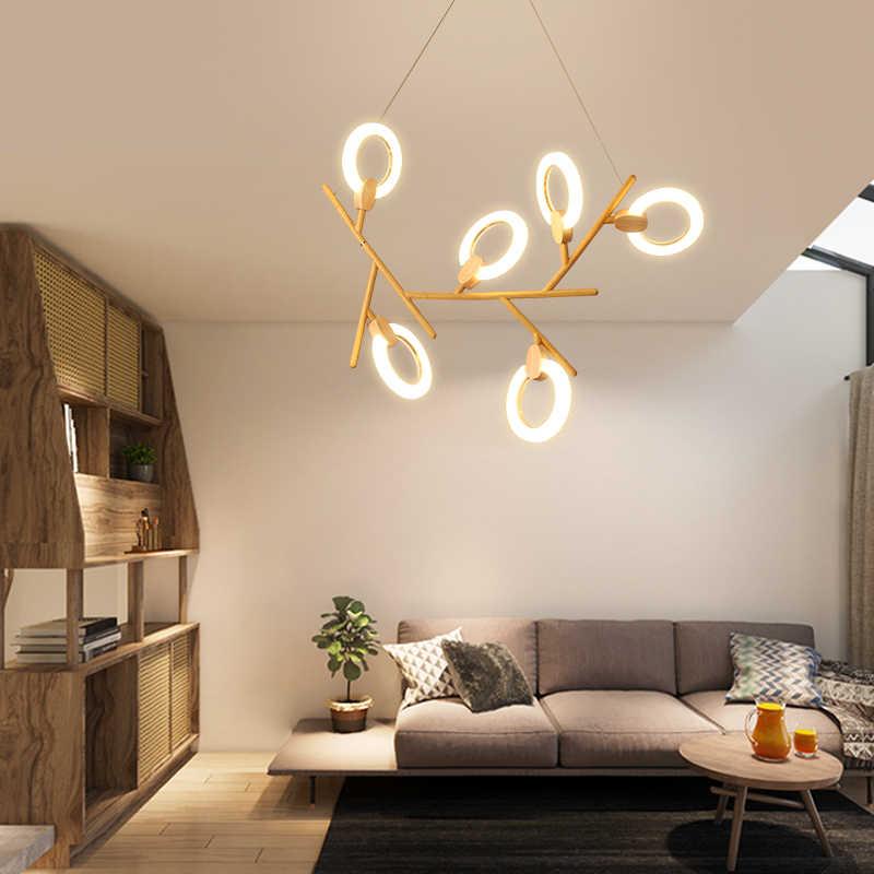 LED chandelier ring Nordic loft illumination bedroom hanging ...