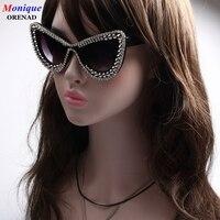 Fashion Women Cat Eye Sunglasses Silver Beads Decoration Retro Sunglasses Bling Rhinestones Men Sun Glasses Vintage