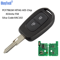 OkeyTech Remote Key 433mhz with PCF7961M HITAG AES Chip for Renault Sandero Dacia Logan Lodgy Dokker Duster 2016 2 Buttons