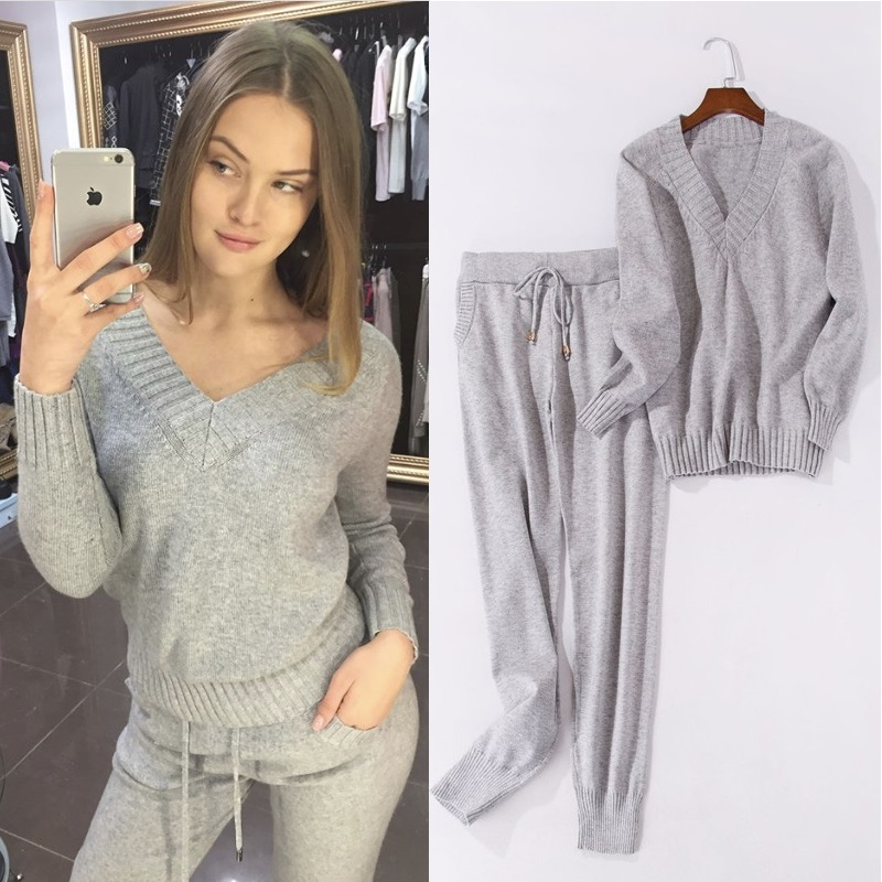 2piece Women Set Sweatshirt+ Pants Winter Autumn Warm Long Sleeve Knitted Tracksuit 2 Pieces Sets Two Women Sporting Suit Female sexy sports bra and leggings