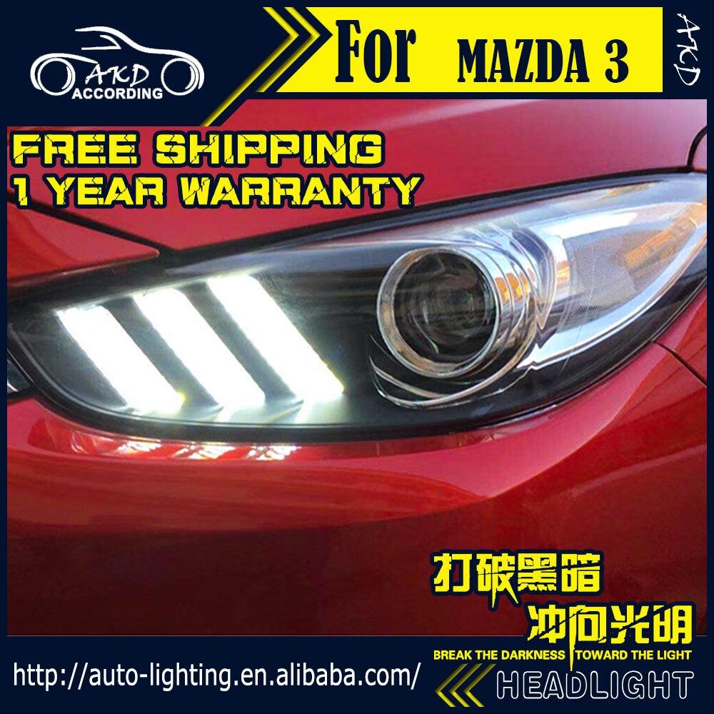 AKD Car Styling Head Lamp for Mazda 3 Axela LED Headlight 2017 2018 New Mazda3 LED DRL D2H Hid Option Angel Eye Bi Xenon Beam
