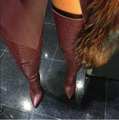 Botas Mujer Printing Snakeskin Thigh High Boots Back Zip High Heels Women Tall Boots Winter Pointed Toe Over The Knee Boots hot boots women sexy black thigh high boots peep toe soft leather back zip high heels over the knee boots gladiator sandal boots