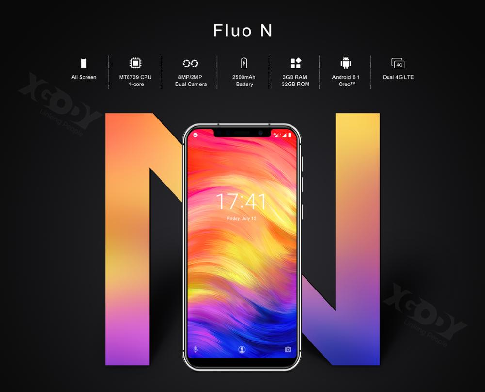 19:9 encoche écran XGODY Fluo N 4G déverrouiller 5.7 pouces Smartphone Android 8.1 Oreo Quad Core 3 GB + 32 GB Face ID téléphone Mobile 2500mAh - 4