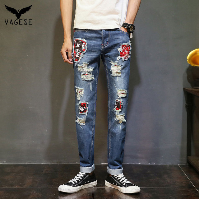 75dc7e455c Nueva Moda VAGESE Hombres Biker Jeans Rasgados Agujero Robin Parches Harem  jeans para hombres Pantalones de