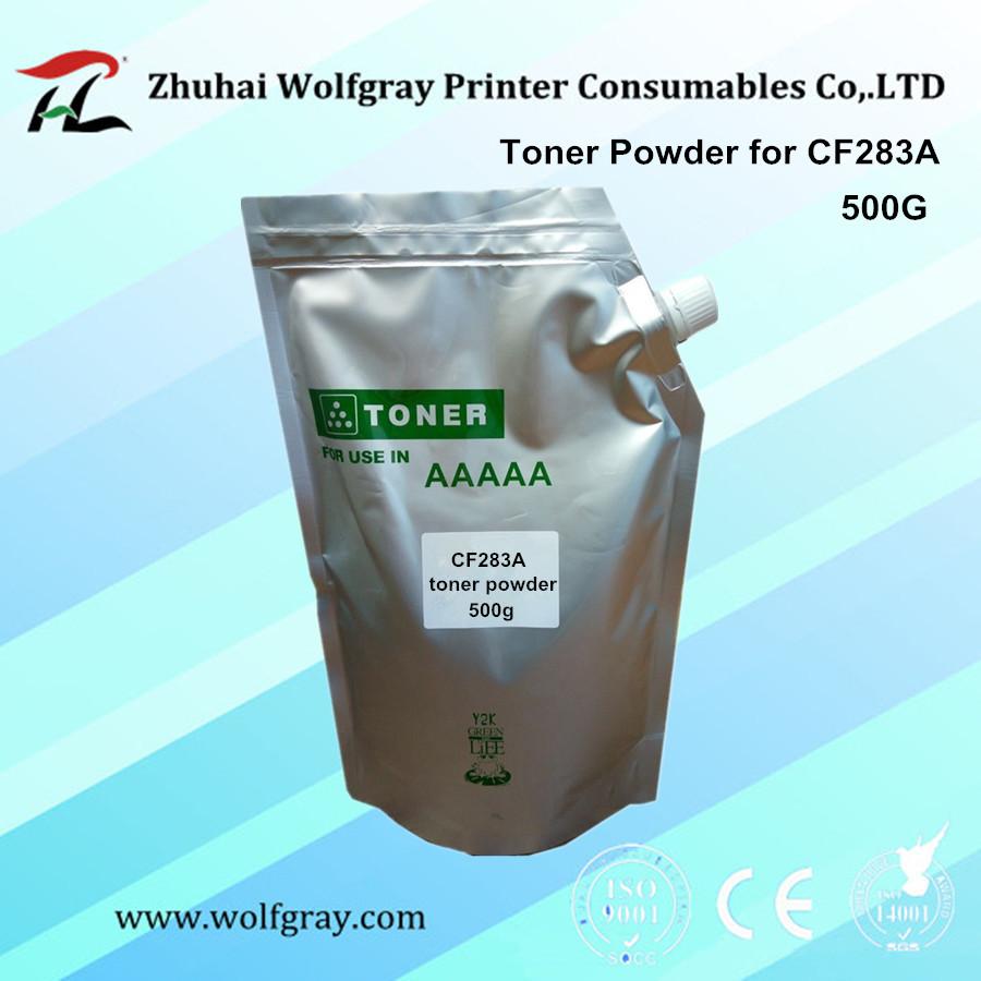 YI LE CAI compatible 500g/bag refill toner powder for HP CF283A CF283 283A 283 83A LaserJet Pro MFP M125nw/M125rnw/M127fn/M127w wholesale china premium laser toner cartridge cf283a 283a 83a replacement for hp 83a laserjet pro mfp m125 m127fn mfp m225