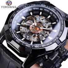 Forsining 2019 Luxury Brand Mens Watch Hollow Skeleton Mechanical Watches Clock Black Genuine Leather Sports Wristwatch Relogio