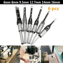 6PCS 6mm 8mm 9.5mm 12.7mm 14mm 16mm Square Hole Saw Drill Bit Auger Mortising Chisel 1/4 5/16 3/8 1/2 9/16 5/8