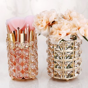 Image 3 - European Style Crystal Pencil Pen Holder Office Desk Cosmetic Makeup Brush Holder Eyebrow Eyeliner Container Gold Organizer