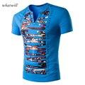 New Short Sleeve Men T-shirts Letter Printed V-neck Fitness Hip Hop T shirt Tops
