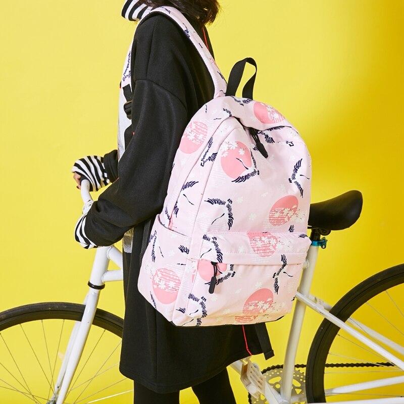 School Bag Travelling Waterproof 9294 Laptop Backpack Large Capacity Bird Crane Print