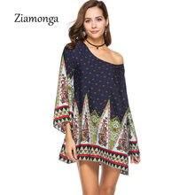Ziamonga 2018 Primavera Estate Donna Vintage Etnico Vestito di Marca Stile  Barocco Stampa Floreale Casual Spiaggia Abito Da Boho. cfabe1b02a6