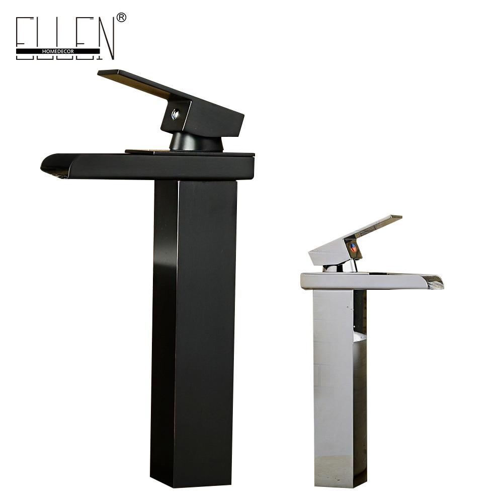 купить Bathroom Basin Faucet Soild Brass oil-rubbed Bronze Washbasin Faucet Tall Black Square Waterfall Tap Deck Mounted Mixer ELT5018 по цене 4045.85 рублей
