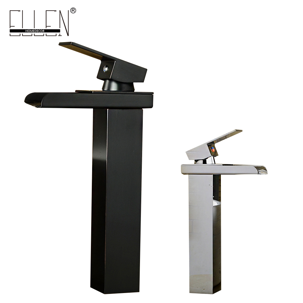 Free shipping soild brass oil-rubbed bronze washbasin faucet tall black square waterfall tap deck mounted mixer 1 piece free shipping anodizing aluminium amplifiers black wall mounted distribution case 80x234x250mm