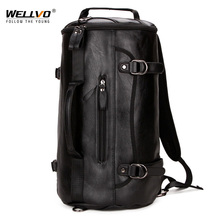 Wellvo Multifuction PU Leather Travel Duffle Bag Men Round Bucket Large Back Pack Shoulder Messenger Bags for Male Black XA80WC
