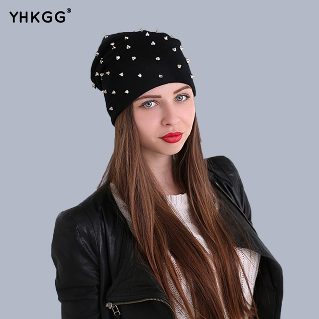YHKGG 2016 street fashion Stacking Knitted hat general star ear cap wool Punk hat warm gorros Free Size