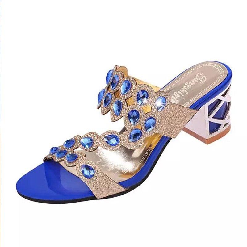 Blue Rhinestones Slippers Women Shoes 2019 Summer New Korean High Heels Womens Woman Flip Flops