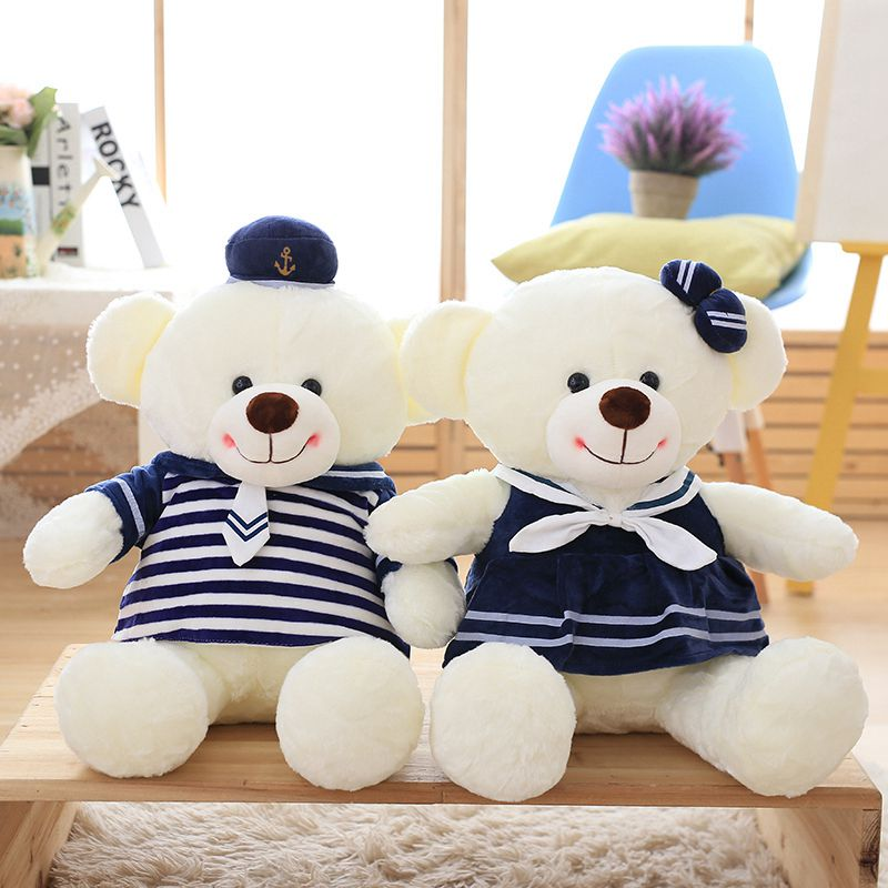 Nooer 2 Pcs A pair of Kawaii Stuffed Teddy Bear Plush Toys Navy Style Animals Bear Kids Doll For Birthday Baby Children Gift