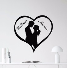 Custom Names Love Heart Wedding Decoration Couples Wall Sticker Art Design Poster Mural Beauty Decor W138