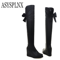 ASYSPLNX Large Size Sexy Fashion Elegant Knee High Horse Boots High Thick High Heels Ladies Black