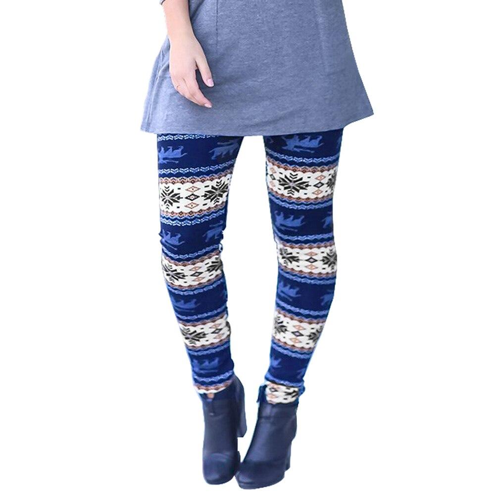 2018 зима-осень Последняя Мода Для женщин Повседневное Рождество тощий печатных Леггинсы брюк Брюки Большие размеры s-XL