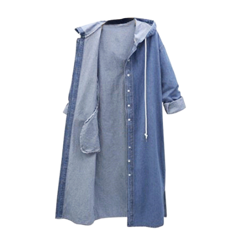 Womens Long Sleeve Denim Jacket Hoodies Ladies Cropped Jeans Outwear Hooded Coat