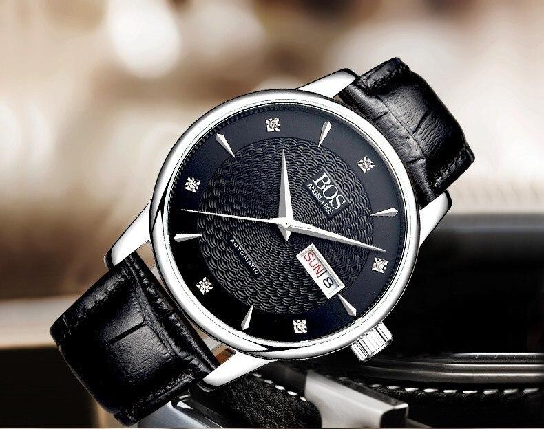 ANGELA BOS Автоматические Наручные Механические деловые часы мужские сапфировые волнистые часы из натуральной кожи роскошные часы - 5