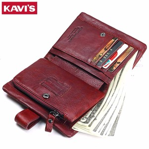 Image 4 - KAVIS 2020 Genuine Leather Women Wallet And Purses Coin Purse Female Small Portomonee Rfid Walet Lady Perse For Girls Money Bag