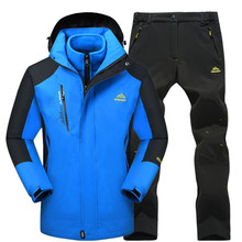 2018 Hiking Jackets Men Waterproof Windproof Outdoor Fleece Warm Camping Fishing Jackets and Pants Thermal Skiing Clothing Set 2018 new lover men and women windproof waterproof thermal male snow pants sets skiing and snowboarding ski suit men jackets
